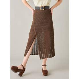 クロシェレディライクタイトスカート(ブラウン)