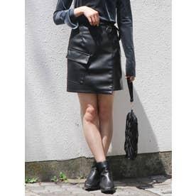 サイドリボンポケットミニスカート(ブラック)