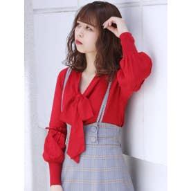【S】フロントリボンボリュームスリーブニット (RED)