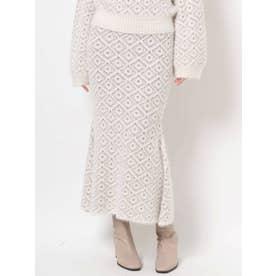 ダブルカラーマーメイドニットスカート(オフホワイト)