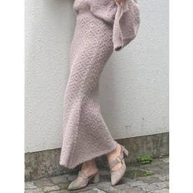 ダブルカラーマーメイドニットスカート(ピンク)