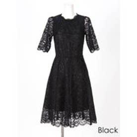 パーフェクトレースショートスリーブワンピースドレス ブラック