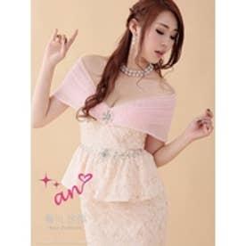 オフショル花柄パール装飾タイトミニドレス 1.ピンク