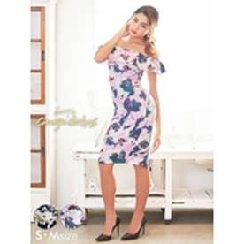 レトロ大判フラワー柄オフショルタイトドレス ピンク