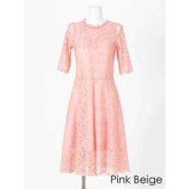 パーフェクトレースショートスリーブワンピースドレス ピンクベージュ