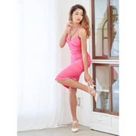 胸元コードxキャンディカラータイトドレス ピンク