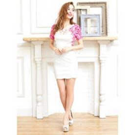 花柄刺繍付ピュアホワイトレイヤード風袖付きタイトミニドレス ピンク