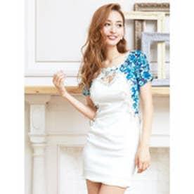 花柄刺繍付ピュアホワイトレイヤード風袖付きタイトミニドレス ブルー