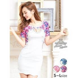 花柄刺繍付ピュアホワイトレイヤード風袖付きタイトミニドレス パープル
