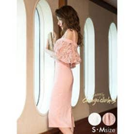 藤井リナ着用レースオフショルバイカラータイトドレス ピンク