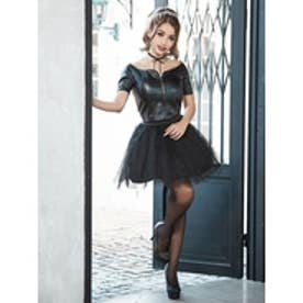 2pieceleathertops&circularskirtdress-2ピースレザートップス&サーキュラースカートドレス- ブラック