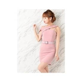 ベルト付ミレニアルピンクカラータイトミニドレス ピンク