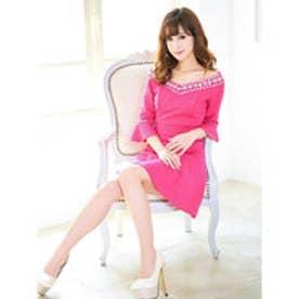 薔薇柄エンボス加工5分袖オフショルAラインミニドレス ピンク