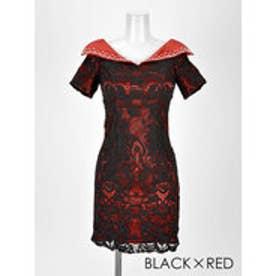 襟付き総レースタイトミニドレス ブラックXレッド