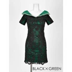襟付き総レースタイトミニドレス ブラックXグリーン