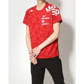 メンズ 半袖機能Tシャツ ジャガードハンソデTシャツ DMMRJA55 (レッド)
