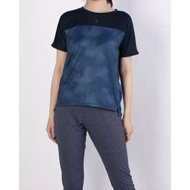 レディース 半袖機能Tシャツ グラフィック ハンソデTシャツ DMWRJA53 (ネイビー)
