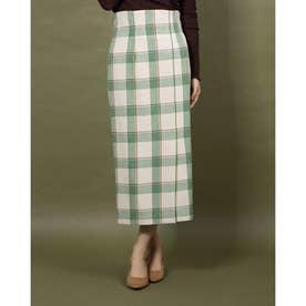 メルトンチェックタイトスカート (グリーン)
