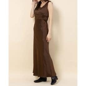 サテンレースドレス (ブラウン)