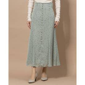サテンストライプローズスカート (グリーン)