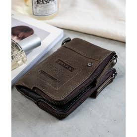 WORK ダブルジップ 二つ折り財布 (グレー)