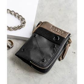 ミリタリー ダブルジップ 二つ折り財布 (ブラック)