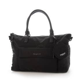 曼荼羅模様の刺繍入りナイロン素材のハンドバッグ (グレー/ブラック)