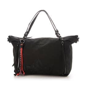 花柄カービングのハンドバッグ (グレー/ブラック)