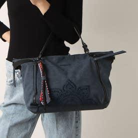 花柄カービングのハンドバッグ (ブルー)