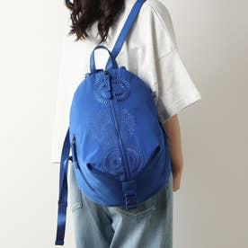 曼荼羅模様の刺繍入りナイロンバックパック (ブルー)