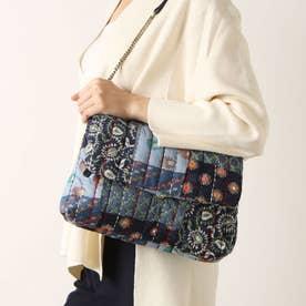 刺繍素材とチェーンストラップ付きクロスボディバッグ (ブルー)
