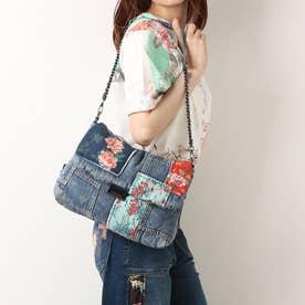 花柄&デニムパッチワークのクロスボディバッグ (ブルー)