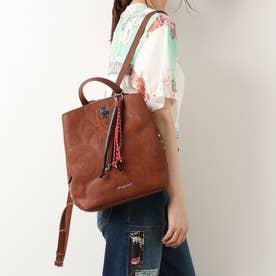 刺繍入りレザー風素材のミニバックパック (ブラウン)
