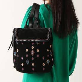刺繍とスパンコール付きスクエアバックパック (グレー/ブラック)