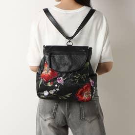 刺繍&持ち手付きバックパック (グレー/ブラック)