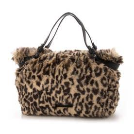 アニマルプリントのファー素材ハンドバッグ (ブラウン)