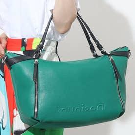 プレーンカラーのマキシハンドバッグ (グリーン)
