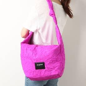 クシャっとした紙風デザインのショルダーバッグ (ピンク/レッド)