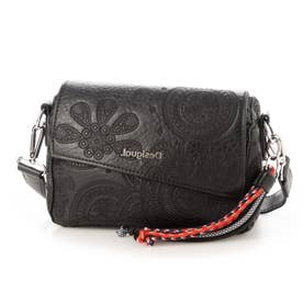 斜め掛けストラップ付きアシンメトリーフラップのハンドバッグ (グレー/ブラック)
