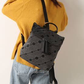 刺繍入りデニム素材のスクエアバックパック (グレー/ブラック)