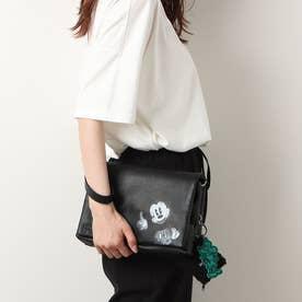 ミッキーマウスのイラストとキーホルダー付きトートバッグ (グレー/ブラック)