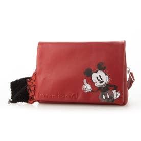 ミッキーマウスのイラストとキーホルダー付きトートバッグ (ピンク/レッド)