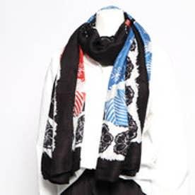 長方形スカーフ BLOMMING WINTER (グレー/ブラック)