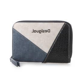 レザー調素材パッチワークの財布 (ブルー)