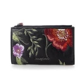 花柄刺繍入りレザー調素材の財布 (グレー/ブラック)