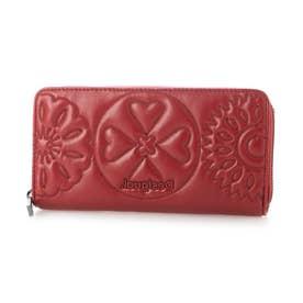 曼荼羅模様の刺繍入りレザー調素材の長財布 (ピンク/レッド)