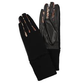 アニマルパッチワークのレディースダブル素材手袋 (グレー/ブラック)
