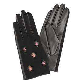 装飾柄の刺繍入りレディースダブル素材手袋 (ピンク/レッド)