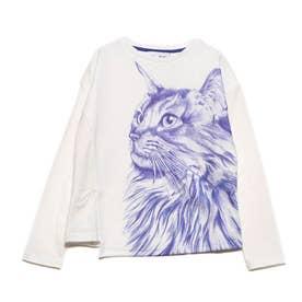 Tシャツ長袖 BLUECAT (ホワイト)
