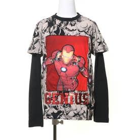 Tシャツダブル袖 GENIUS (グレー/ブラック)